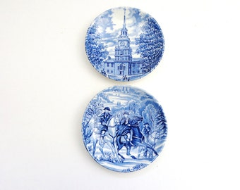 Vintage Two Liberty Blue Wall Plates, Collector Plates
