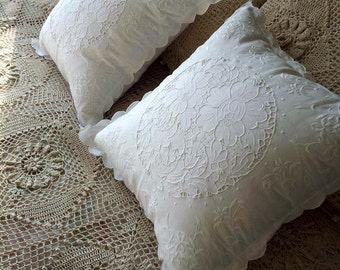 Fine Arts: Shabby Chic Vintage 100% Cotton Hand Embroidery and Cutwork White Peony Cushion Cases, Pillow Shams