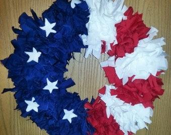 4th of July Fabric Rag Wreath