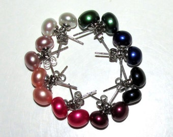 Cultured Freshwater Pearl Studs ~ Assorted Colors
