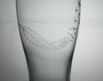 free bird etched glasses, feather etched glasses, bird etched glasses, etched glasses, customized pint glasses, pint glasses