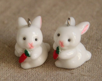 2 pcs cute 3D hand painted resin  bunny with carrot cabochon with eyepin  25mm tall-white