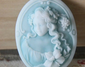 6 pcs of   of resin cameo 30X40mm-RC0145- A blue