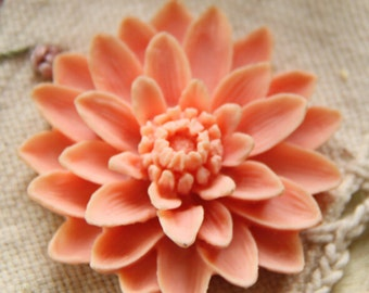 6 pcs of resin chrysanthemum cabochon-55mm-0063-pEACH PINK