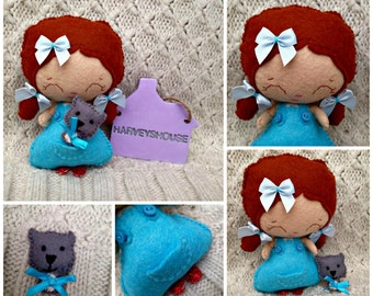 Felt Dorothy Doll -Handmade Collectable Felt Wizard Of Oz Themed Doll - Dorothy & Toto - Made To Order