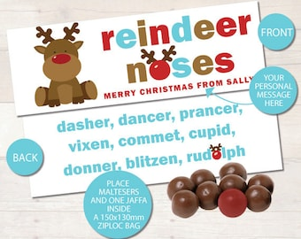 Personalised Reindeer Noses Christmas Bag Toppers - BRIGHT