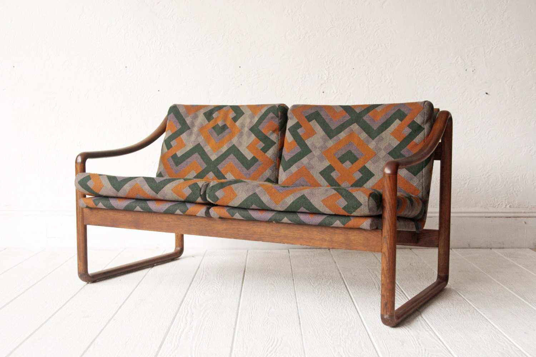Gunlocke Mid Century Sofa Loveseat Wood Frame