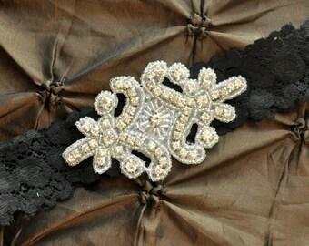 Wedding Garter, Bridal Garter - Black Lace Garter, Keepsake Garter, Crystal Embellishment, Black Wedding Garter, Black Bridal Garter