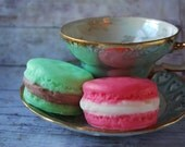 2 Macaron Soaps - French Macaron Soap - Lemongrass Green Tea - Raspberry - French Macaroon Soap - Spring Soap - Pink and Green