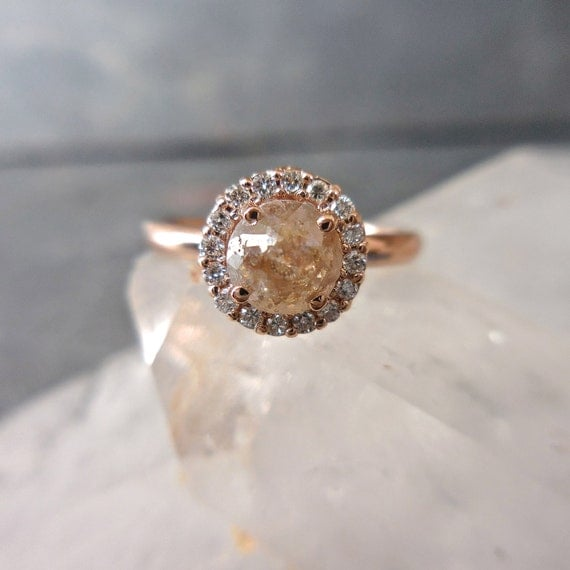 Rustic Diamond: Rustic Diamond Engagement Ring Diamond Halo Champagne Copper