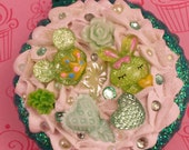 Hairbrush and Mirror Compact, Hand Decorated, One of a Kind, Green, Decoden