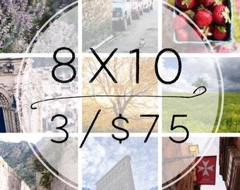 Any Three 8x10photographs for 75 dollars - France, Paris, New York City Photography wall art decor
