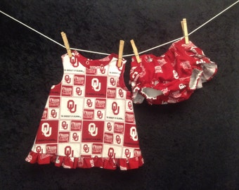 Girls pinafore set...Oklahoma Sooners  girls reversible pinafore set, ruffle diaper cover, oklahoma pinafore