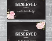 "INSTANT DOWNLOAD - Reserved for Family Signs 5x7"" DIY Wedding Signage Printable... Peony Flower Design"
