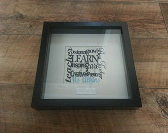 Teachers/nursey/childminder/teaching assistant Paper cut word art with name framed