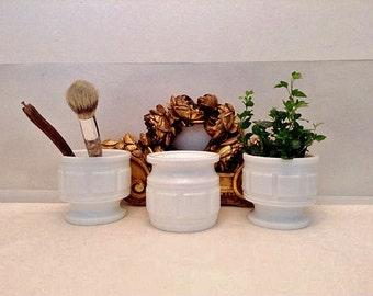 3 Vintage White Planters=Vintage Studio Storage= White Kitchen Ware=Milk Glass=Eclectic Decor