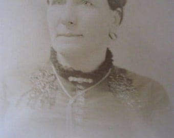 "Antique Photo of a Woman Sedalia, Mo 5 1/2"" x 3 3/4"" Sepia CL13-18"