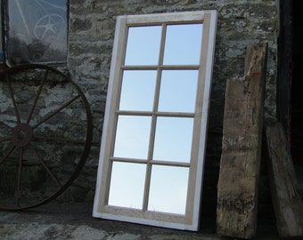 XL Reclaimed Door Mirror - Distressed White Window