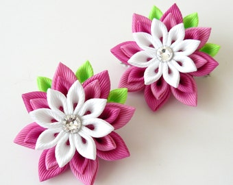 Kanzashi  Fabric Flowers. Set of 2 hair clips. Pink and white hair clips. Girl's hair clips. Kanzashi hair clips. Pink girl's hair clips.