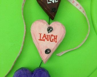 3 Heart Wood Hanging