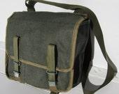 Vintage Green Soviet Union Army Canvas Messenger Bag