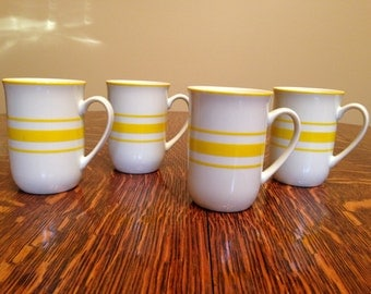 Vintage White with Yellow Stripes Ceramic Mugs, Set of 4 Retro Mod Bright Colorful Fun