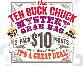 Ten Buck Chuck Mystery Grab Bag 3-Pack - Vintage Dictionary Prints - DPGB001