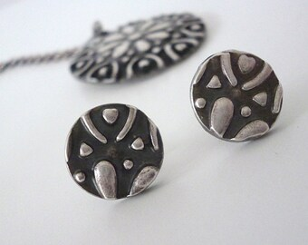 Silver Oxidised Embossed Stud Earrings