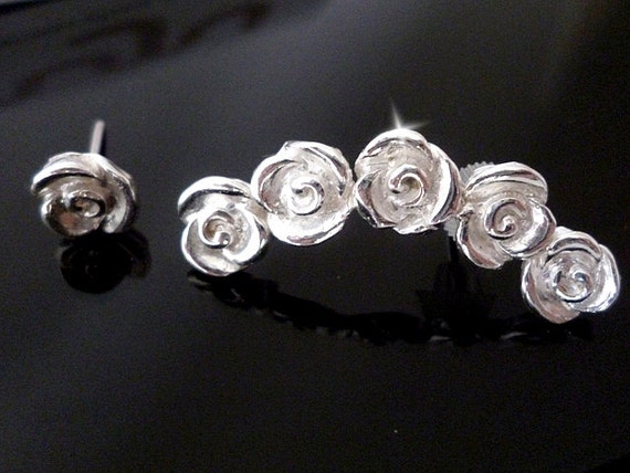 Rose Earcuff, Rose Ear Cuff, Silver Rose Ear Climber, Rose Earring Crawler, Ear Jackets and Climbers, Single Rose Stud, Ear Sweeps, Ear Cuff