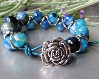 Turquoise Agate and Leather Bracelet with Silver Button