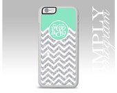 Cute Monogram Cases Mint iPhone 6 Cases Chevron iPhone 5s Case Monogram iPhone Cases iPhone 5c Case Silver Sparkle Cases (NOT REAL GLITTER)