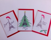 Set of 3 French hand drawn Christmas Cards