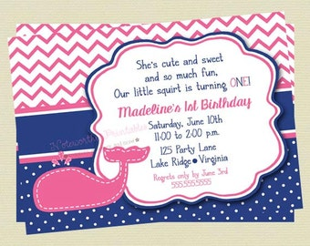 Girl Whale Birthday Invitation/Birthday Invite/Navy and Pink Whale Invite/Birthday Invite/Nautical Invite/DIY Printable File