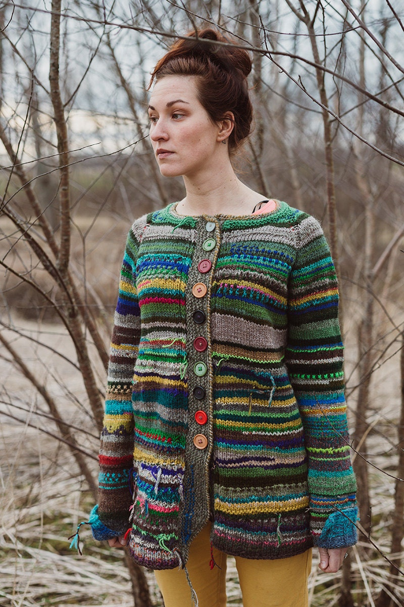 Handmade knitted bright and colorful women cardigan