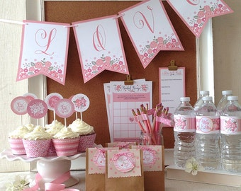 Bridal Shower Printable Party, Blush and Pink Shades, Floral, Includes Cupcake Toppers, Banner, Tags, Games and More