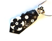 Woman Necktie-necklace, steampunk, black, white, OOAK, floral, handmade, appliqued, natural leather, eccentric accessory, necktie-jewelry
