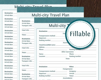 Travel Planner: Multi-City Travel Plan - Fillable - Instant Download - Printable PDF  - Vacation Planner