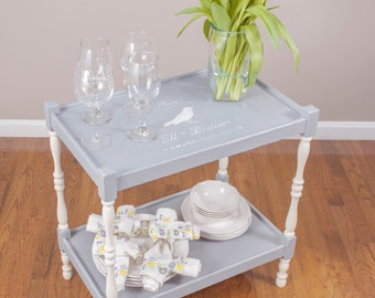 ITEM IS SOLD - Gray & White French Bird 2-Shelf Table