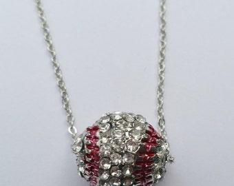 Baseball Rhineston 3D Charm Necklace