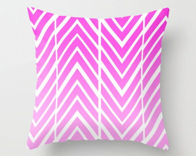 Pink Pillow Cover - Cover Only - Pink Arrow Art - Sofa Pillow - Bed Pillow - Decorative Pillow - Pink and White - Made to Order