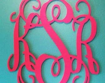 24 inch Vine connected monogram letter, Wooden wall letter, wedding, wedding monogram, wall monogram, home decor- PAINTED