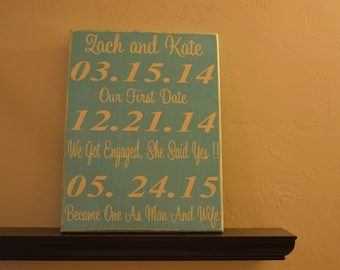 Personalized Wedding Sign, Important Date Sign, Wedding Sign, Anniversary, Personalized Wedding Gift, Engagement Gift