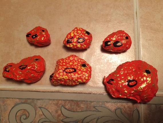 Six piece set of Goldfish Painted Rocks