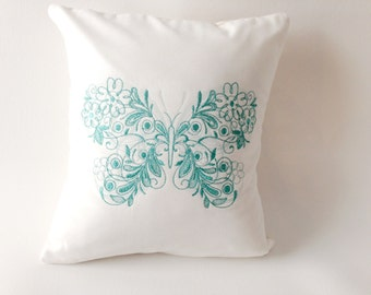Butterfly Pillow, Embroidered Pillow, Butterfly Accent, Green Butterfly, Bedroom Pillow