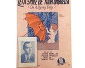 Vintage Sheet Music -1920's - Let a Smile Be Your Umbrella (On a Rainy Day)-Spring-Scrapbooking-Vintage Graphics-Ukelele Arrangement