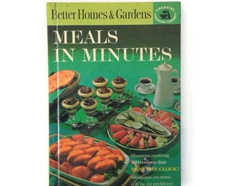 Vintage Cookbook-1960's-Better Homes & Gardens-Meals in Minutes-1963-Creative Cooking Library-Glossy Cover-Recipes-Vintage-Retro Kitchen