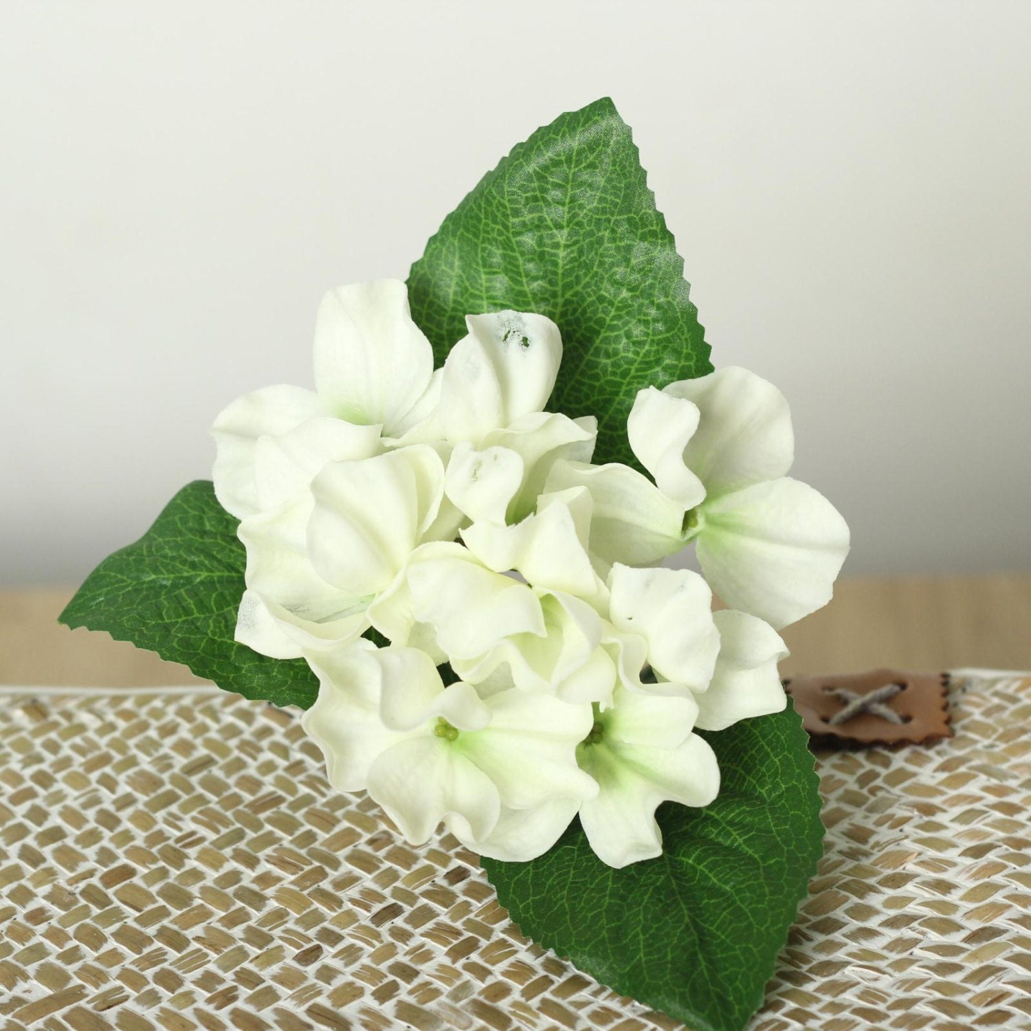 2pcs Pu Latex Hydrangea White Pink Real Touch Flowers For