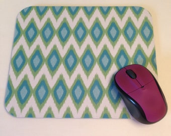 Mouse Pad in Ikat Diamonds Blue and Green; Boss Lady, College Student, or Coworker Gift, Desk Accessories, Cubicle Accessories Mousepad