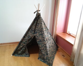 camouflage tent, Children's Tent, Teepee, Play Tent, Tipi, Wigwam or Kids Fort digital camo teepee