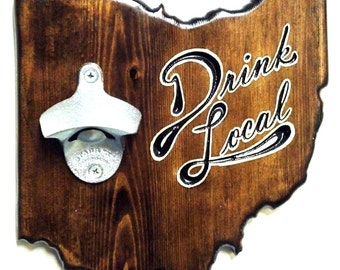 Ohio Wooden Wall-Mounted Custom Bottle Opener